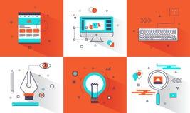 Conceito de projeto gráfico criativo da bandeira Elemento abstrato e linha lisa estilo dos ícones para o Web site, negócio criati ilustração stock
