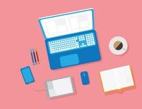 Conceito de projeto liso do espaço de trabalho criativo do escritório Imagens de Stock Royalty Free