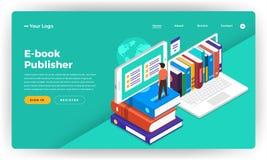 Conceito de projeto liso EBook do Web site do projeto do modelo, ensino eletrónico, d ilustração stock