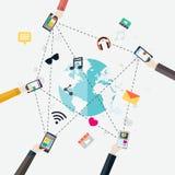 Conceito de projeto liso para apps móveis Fotografia de Stock Royalty Free
