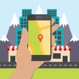 Conceito de projeto liso para a navegação móvel de GPS Foto de Stock