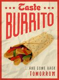 Conceito de projeto mexicano do cartaz do burrito Imagens de Stock Royalty Free