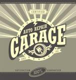 Conceito de projeto retro da bandeira da garagem clássica ilustração royalty free