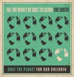 Conceito de projeto retro do cartaz da ecologia ilustração royalty free