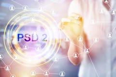 Conceito de PSD2 - o pagamento presta serviços de manutenção à diretriz orientadora imagens de stock royalty free