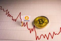 Conceito de queda financeiro do mercado de urso com o Bitcoin dourado no fundo da carta imagens de stock royalty free