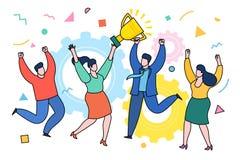 Conceito de realizações da equipe do negócio Conceito fresco do vetor no prêmio que ganha com grupo de pessoas ocasionalmente ves ilustração stock
