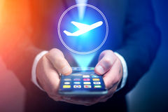 Conceito de registrar o bilhete de avião em linha - conceito do curso imagem de stock royalty free