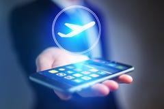 Conceito de registrar o bilhete de avião em linha - conceito do curso fotografia de stock royalty free