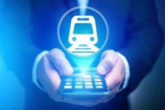 Conceito de registrar o bilhete de trem em linha - conceito do curso fotografia de stock royalty free