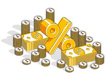 Conceito de renda do salário da taxa de porcentagem, símbolo dimensional dos por cento com a pilha do dinheiro do dinheiro isolad ilustração do vetor