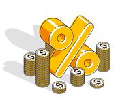Conceito de renda do sal?rio da taxa de porcentagem, s?mbolo dimensional dos por cento com a pilha do dinheiro do dinheiro isolad ilustração stock
