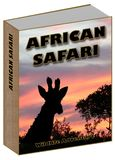 Conceito de Safari Book do africano com por do sol e girafa foto de stock