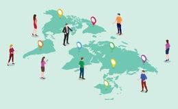 Conceito de seguimento global com os homens e a mulher dos povos da equipe com mapas do mundo e lugar dos gps do marcador de etiq ilustração stock