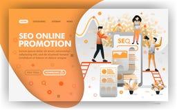 Conceito de SEO Online Promotion Vetora Web Promoção de aperfeiçoamento dos povos no Search Engine Fácil de usar para o elemento  ilustração do vetor