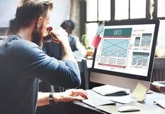 Conceito de SEO Search Engine Optimization Data Digital fotografia de stock royalty free