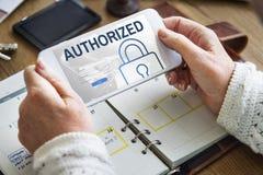 Conceito de sistema autorizado da segurança da rede da acessibilidade fotos de stock