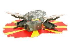 Conceito de sistema da defesa de míssil de Macedônia, rendição 3D ilustração do vetor