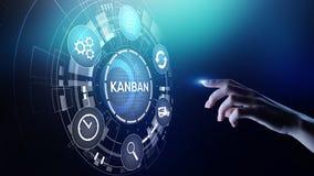 Conceito de sistema da gestão de processo de fluxo de trabalho de Kanban na tela virtual fotografia de stock