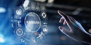 Conceito de sistema da gest?o de processo de fluxo de trabalho de Kanban na tela virtual fotos de stock