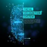 Conceito de sistema da identificação biométrica ou do reconhecimento facial Fotografia de Stock