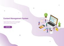 Conceito de sistema de gestão satisfeito do Cms com a página do portátil e do Web site com início de uma sessão seguro para o mol ilustração do vetor