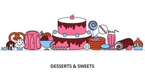 Conceito de sobremesas doces ilustração stock