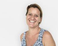 Conceito de sorriso ocasional da mulher caucasiano fotos de stock royalty free