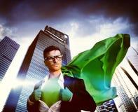 Conceito de Strength Cityscape Leader do homem de negócios do super-herói Fotos de Stock Royalty Free