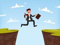 Conceito de superar obstáculos trabalhar O homem de negócios salta aberto Fotografia de Stock