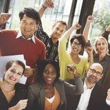 Conceito de Team Success Achievement Arm Raised do negócio Fotos de Stock Royalty Free