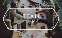 Conceito de Team Up Support Strategy United Alliance imagem de stock
