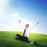 Conceito de trabalho de Successful Relaxation Winning do homem de negócios imagens de stock