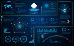 Conceito de trabalho do sistema abstrato da inovação da tecnologia da inteligência da relação do hud ilustração royalty free