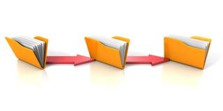 Conceito de transferência de dados com os dobradores e as setas amarelos do escritório Imagens de Stock Royalty Free