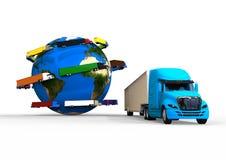 Conceito de transporte por caminhão global Imagens de Stock Royalty Free