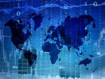 Conceito de troca em linha com mapa do mundo Fotografia de Stock Royalty Free