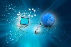 Conceito de uma comunicação da rede global e do Internet Fotos de Stock