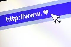 Conceito de uma comunicação de WWW com coração. Foto de Stock Royalty Free