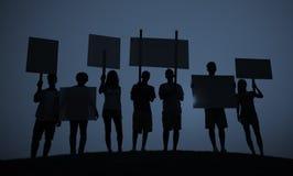 Conceito de uma comunicação dos povos da multidão da unidade do grupo do protesto Fotografia de Stock