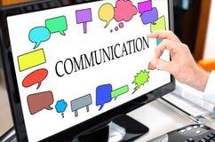 Conceito de uma comunicação em um monitor do computador Foto de Stock