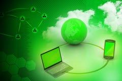 Conceito de uma comunicação da rede global e do Internet Fotografia de Stock Royalty Free