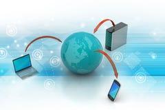 Conceito de uma comunicação da rede global e do Internet Imagens de Stock