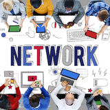 Conceito de uma comunicação do sistema informático do Internet da relação de rede Foto de Stock