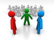 Conceito de uma discussão de duas pessoas na presença de A terceiro Person And uma multidão de povos Foto de Stock