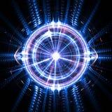 Conceito de uma inteligência artificial do quantum com um olho eletrônico e as ondas ilustração stock