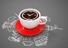Conceito de viagem da xícara de café Fotografia de Stock