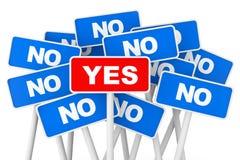 Conceito de votação Sim e nenhuns sinais da bandeira Fotografia de Stock Royalty Free