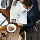 Conceito de Working Leadership Strategy do homem de negócios fotografia de stock royalty free