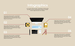 Conceito de Workplace Elements Infographic do desenhista Imagem de Stock